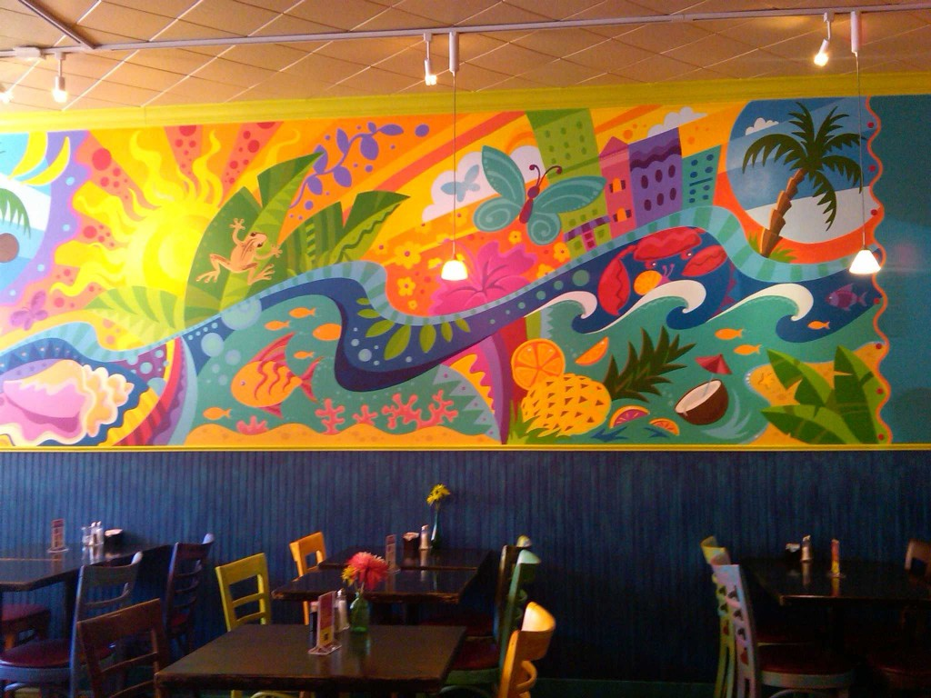 Bright and cheerful mural